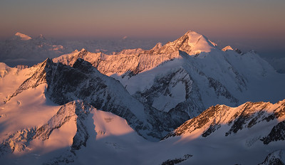 Fiescher Gabelhorn and Aletschhorn from Finsteraarhorn at sunrise, Switzerland