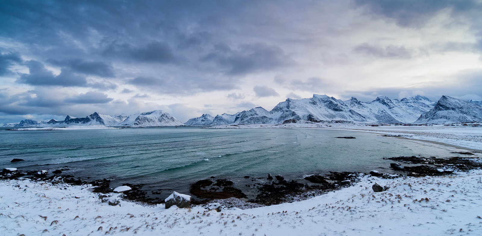 snow, beach, mountains, lofoten, norway, long exposure, clouds, sea, ocean