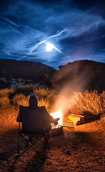 Campfire and Full Moon