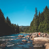 Snoqualmie River with People