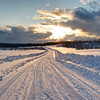 Snowy Country Road at Sunset - Nova Scotia