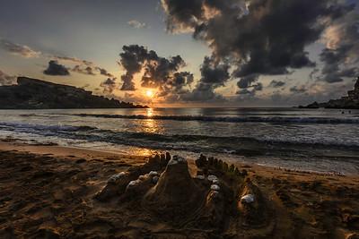 Sunset in the Għajn Tuffieħa Bay