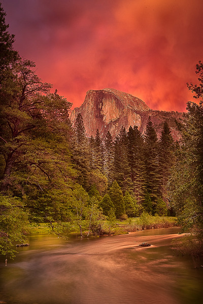 Red Burst over Half Dome