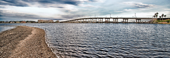 View of the Granada Bridge from the west bank of the Intracoastal Waterway (Halifax River) in Ormond Beach, FL.