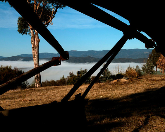 Former Glory (the remains of one of the Mt Stromlo telescopes destroyed in the January 2003 fire-storm now rests as a monument at the site, and made for an interesting photo)