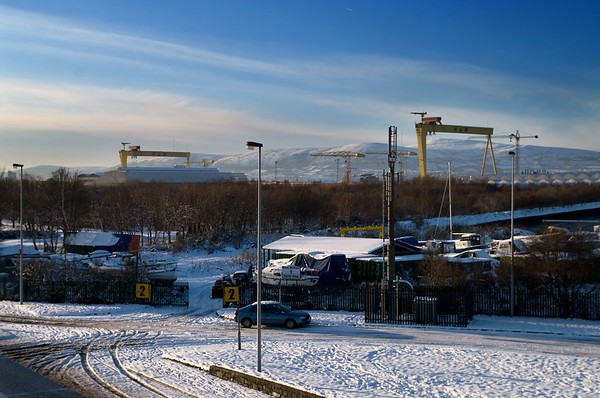 Cranes in Snow, December 2010 (As mentioned elsewhere, Belfast folk like to see both cranes in shot)
