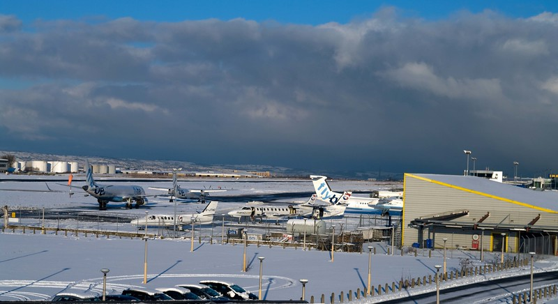 George Best Belfast City Airport in snow (What a mouthfull!! 'City Airport' would suffice, but who am I not to use it's official name. A slightly journalistic shot, perhaps, but I thought it was worth putting up for posterity sake)