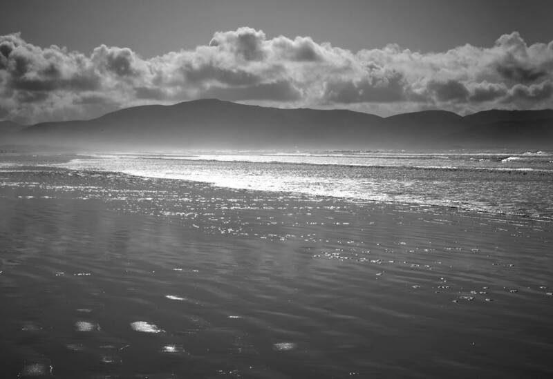 Inch Beach, Dingle Peninsula (Usually a shot into extreme brightness is a recipe for disaster, but this one has a lot of interesting elements to it. Those familiar with my photos will recall that this was previously in colour, but I thought it worked better as a B & W)