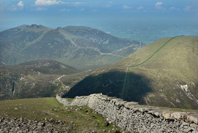 Mourne Wall leading from summit of Slieve Donard to Slieve Commedagh, the Hare's Gap, and Slieve Bernagh