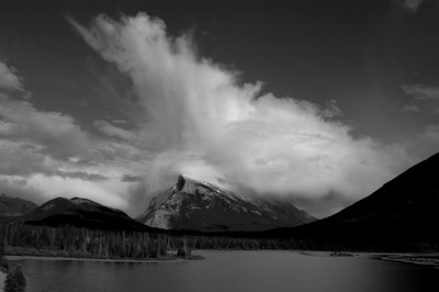 wild clouds rising over Mt. Rundle above Vermillion Lakes
