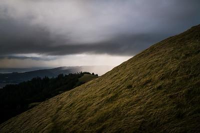 Rain moves over the hills on Mt. Tamalpais.