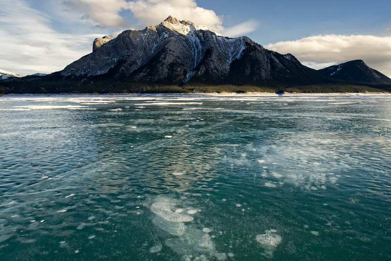Mt Michener looking over Alberta's Abraham Lake frozen landscape