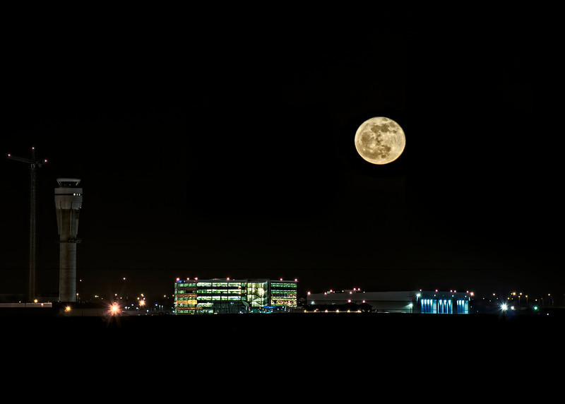 Full Moon Over Calgary Airport