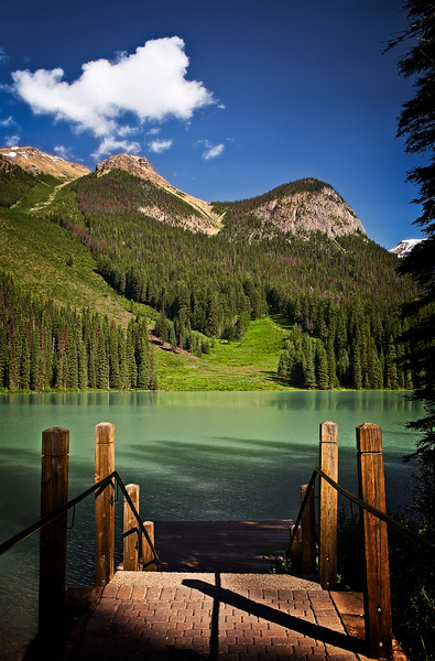 The view from the boat launch at Emerald Lake. as you can see by the colour of the lake it is aptly named Emerald Lake.