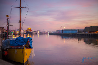 Harbour lights. Soft landscape image of river port at dusk