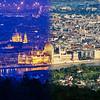 Parlament és Bazilika éjjel-nappal montázs a Hármashatár-hegyről