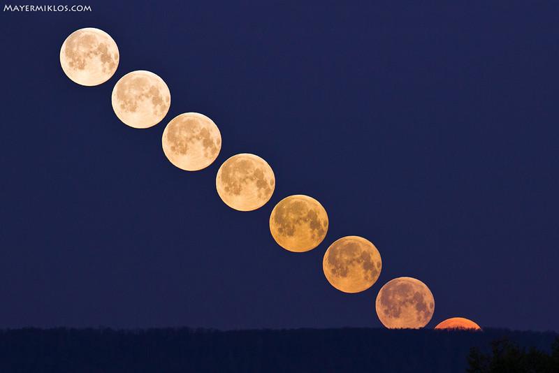 A nyugvó telihold színárnyalatai a Pilis felett, Vácról nézve  The colour transition of Moon setting over Pilis mountains, Hungary