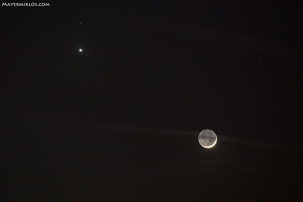 Hold, Vénusz és Mars együttállása a váci Dunapartól, 2015.02.20-n