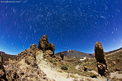 Teide and Los Roques de Garcia in the moonlight, with the famous Roque Cinchado in the middle.