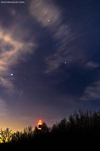Orion and Sirius above Budapest  Orion és a Sziriusz Budapest felett, a Hármashatár-hegyről