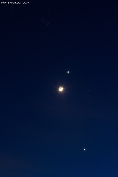 Pleiades, Venus, Moon and Jupiter on the evening sky, March 26 2012