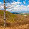 Kilátás Galyatető mellől, ahol az Országos Kéktúra nyomvonala közvetlenül a főút mellett halad a hegygerincen.