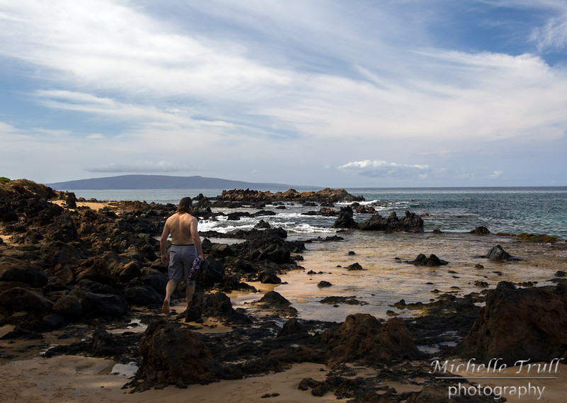 Beautiful Kamaole Beach in Maui - Lava dotted the shoreline giving sea turtles and fish areas of protection