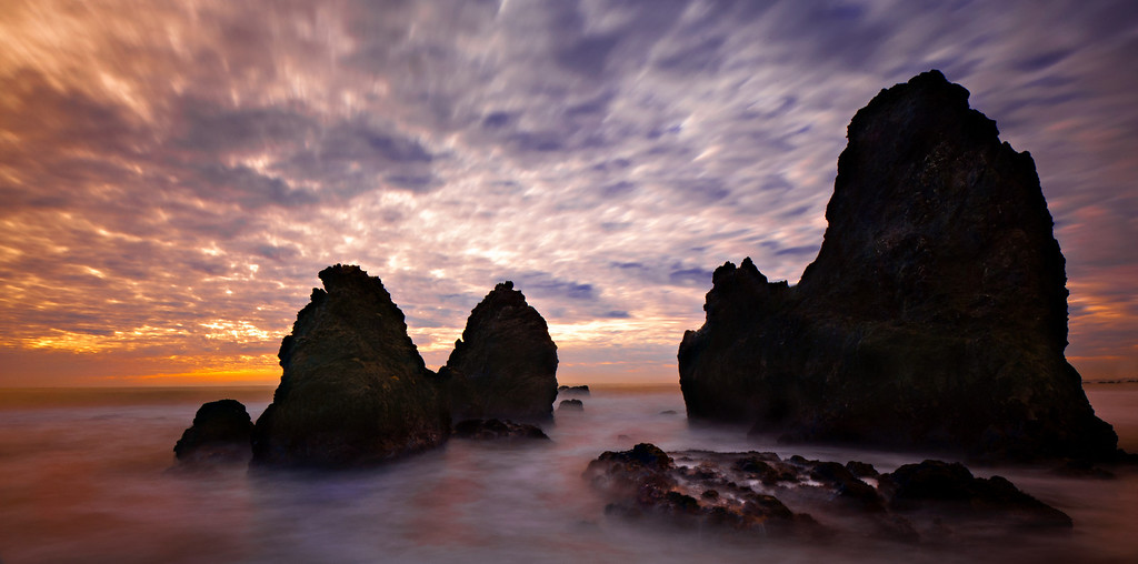 Sea stacks at the south end of Rodeo Beach at Fort Cronkite in the Marin Headlands.