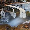 A patakból folyton felfröccsenő víz kifagy a benyúló faágakra!
