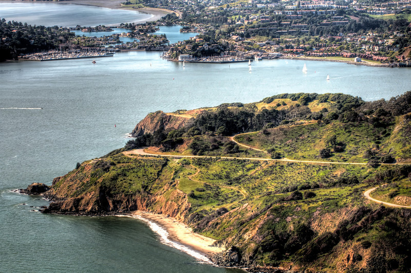 Tiburon and Belvedere yacht clubs, beyond Angel Island.