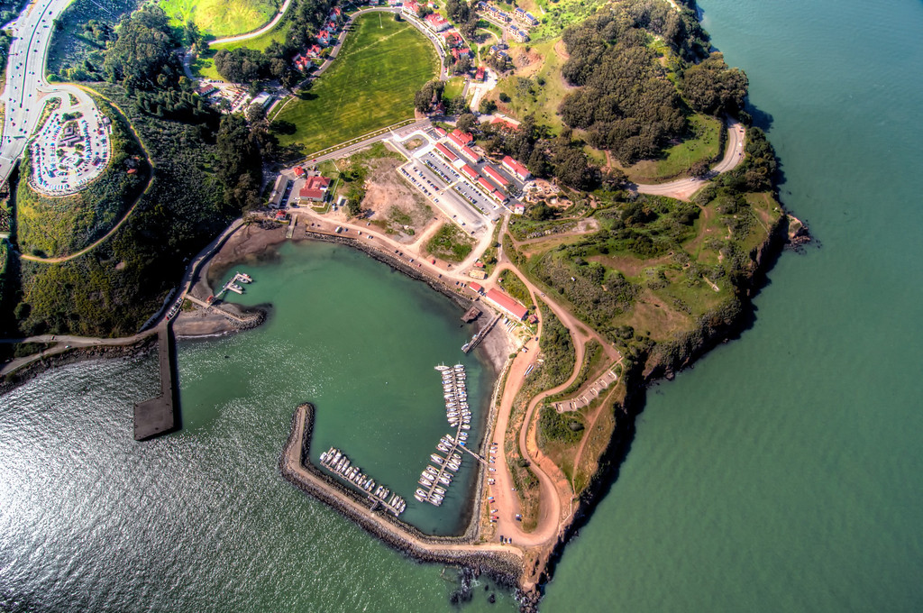 Fort Baker marina, Discovery museum, and Cavallo Point resort.