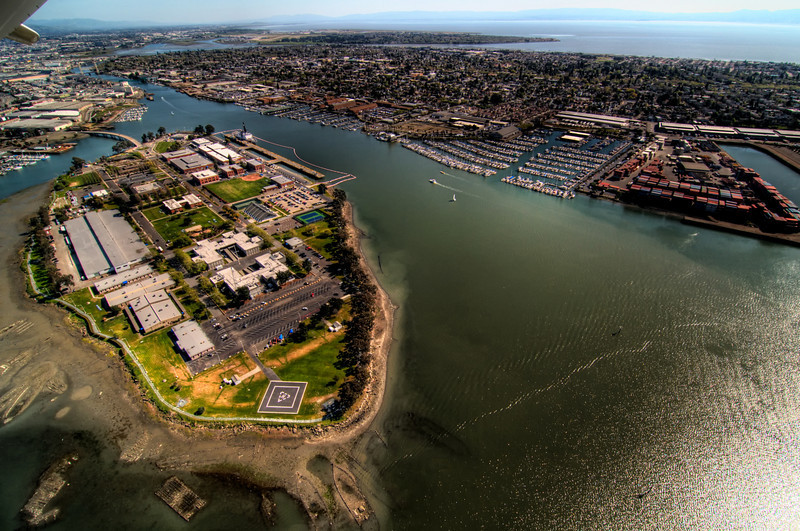 Coast Guard station at Alameda Island.  Notice the ship hull that's been scuttled at the very tip of the island.