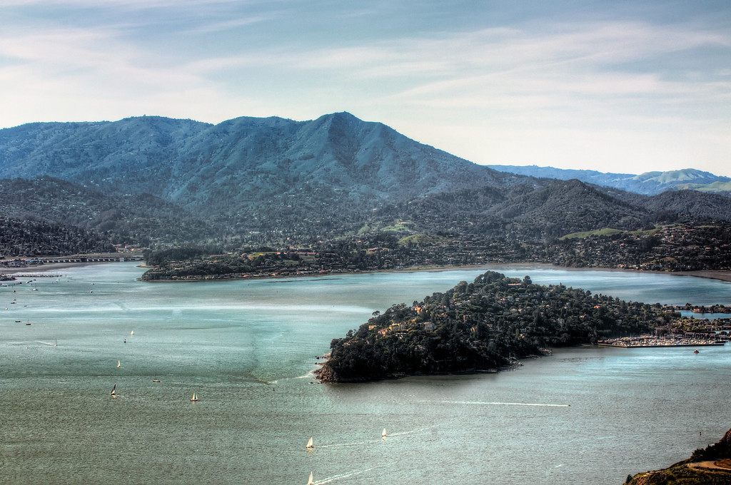Belvedere Island with Mill Valley and Mt. Tamaplais (through the blue haze) beyond.