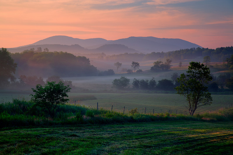 Missisquoi River Valley sunrise, just south of Mansonville, Eastern Townships of southern Quebec<br /> Lee 3 Stop Soft GND - Singh-Ray LB ColorCombo