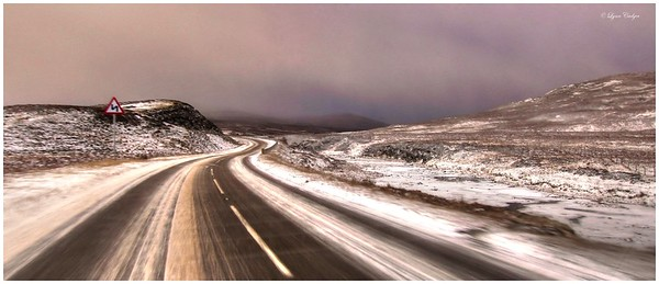 Blizzard descending on the road to Ullapool