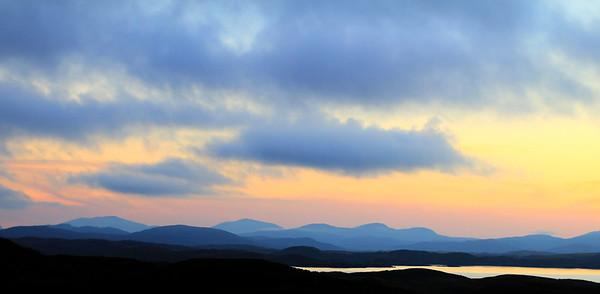Sundown at the Dun Carloway Broch looking towards Uig and Harris.