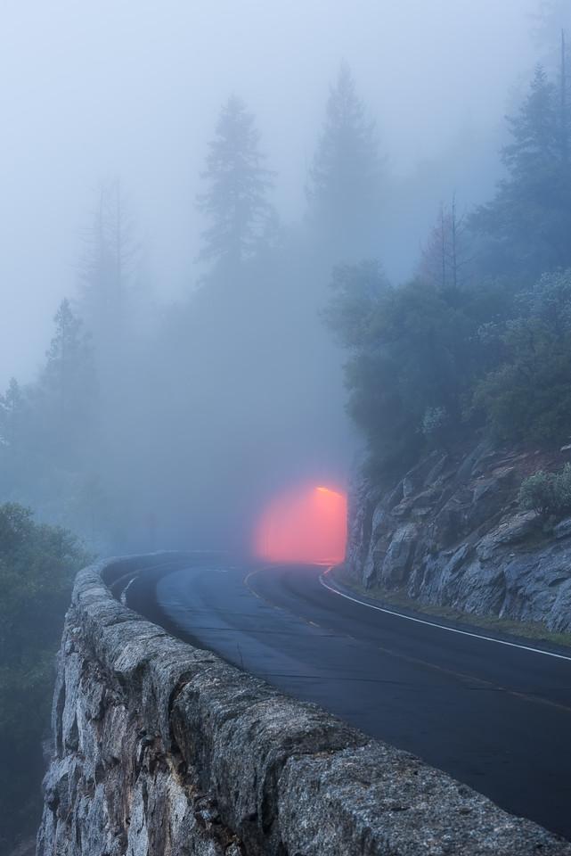 Yosemite foggy tunnel