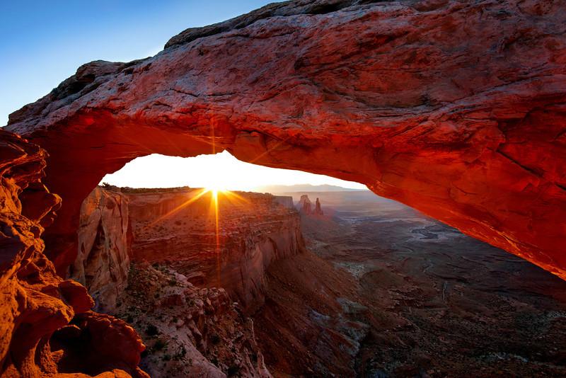 Sunrise at Mesa Arch, Canyonlands, Moab, Utah. USA