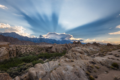 Sunset rays, Alabama hills eastern sierras