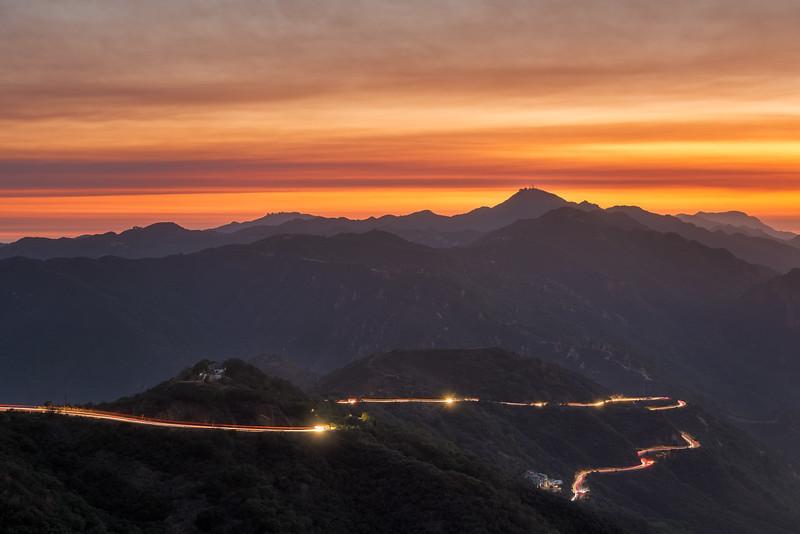 Smokey sunset light trails in Malibu from the Santa Clarita fire