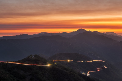 Smokey sunset light trails in Malibu from the Santa Clarita fire