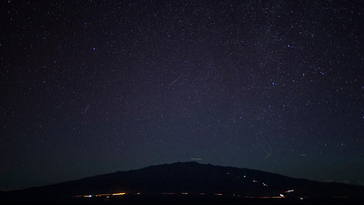 Perseids meteor shower over Maunakea, as seen from Maunaloa.  August 11th 2013