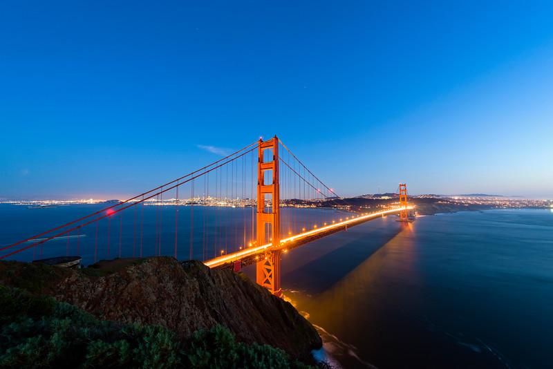 Golden Gate Bridge at night, San Francisco.