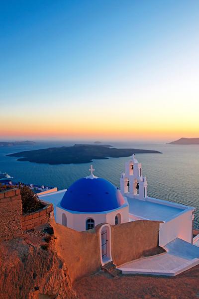 Sunset in Santorini, Greek Islands, Mediterranean