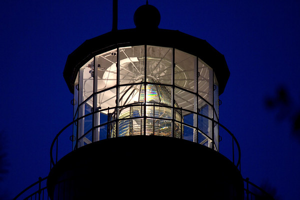The Currituck Lighthouse lit up at night