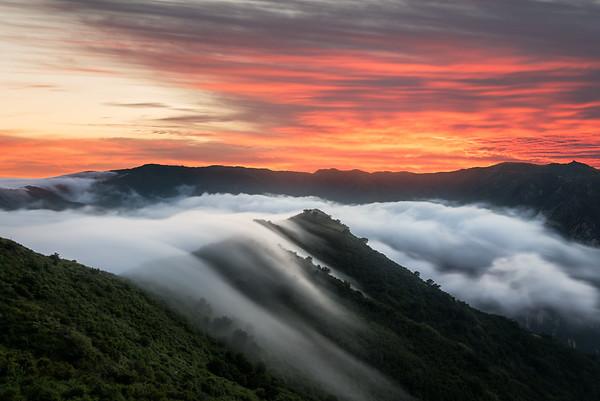 Malibu fog sunset