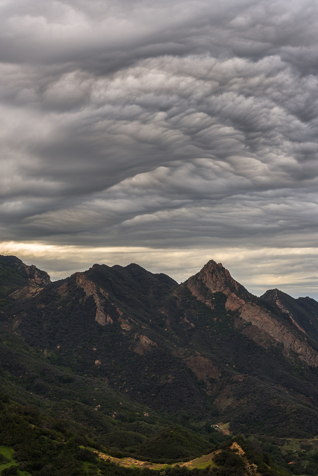 Mammatus clouds over Malibu