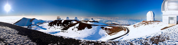 The sun rises from atop the summit of Maunakea on the Big Island of Hawaii
