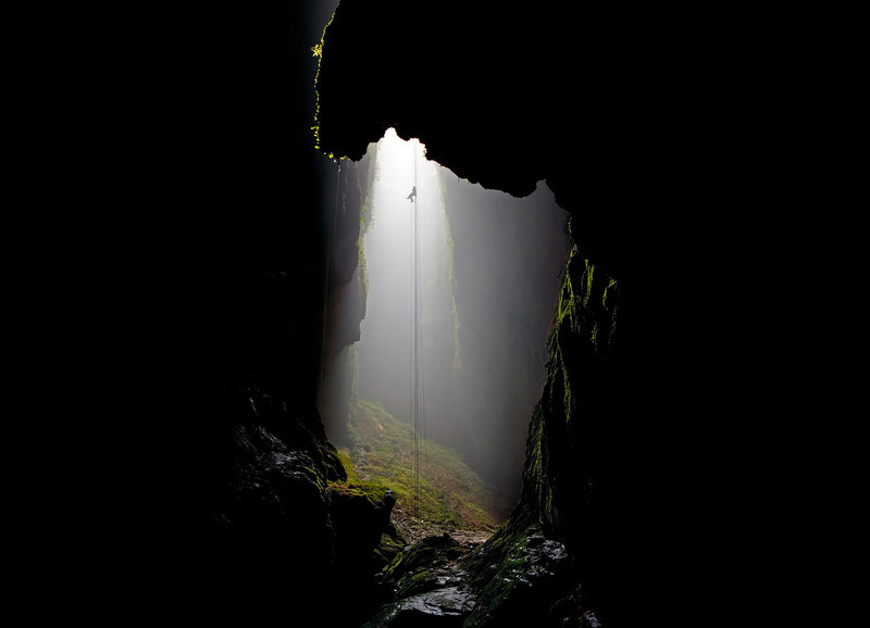 The 330 foot rappel into the Lost World, Waitomo Caves, New Zealand.