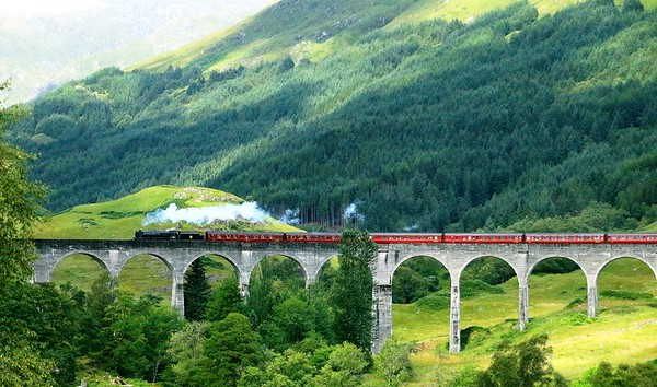 Glen Finnan Viaduct and Steam Train